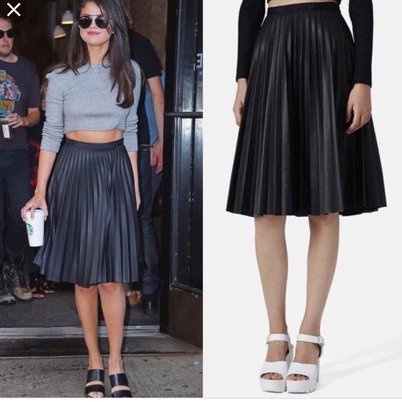 28aa227a7e Topshop Skirts | Faux Leather Pleated Midi Skirt Size S4 | Poshmark